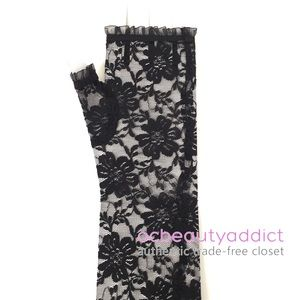 Accessories - 80's Style Mid Length Black Lace Fingerless Gloves